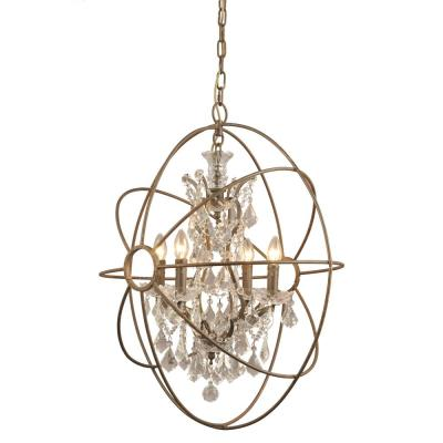 4-Light Rustic Finish Chandelier with Crystal Beads