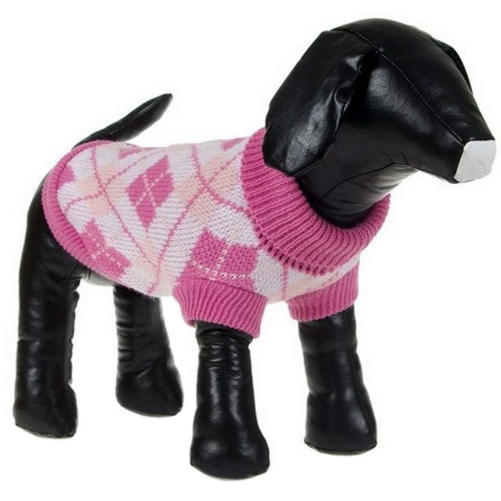 PET LIFE X-Small Pink Argyle Knitted Ribbed Fashion Dog Sweater