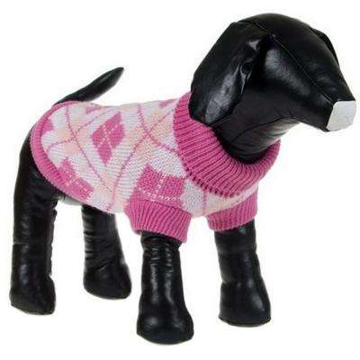 X-Small Pink Argyle Knitted Ribbed Fashion Dog Sweater