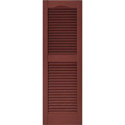15 in. x 48 in. Louvered Vinyl Exterior Shutters Pair in #027 Burgundy Red