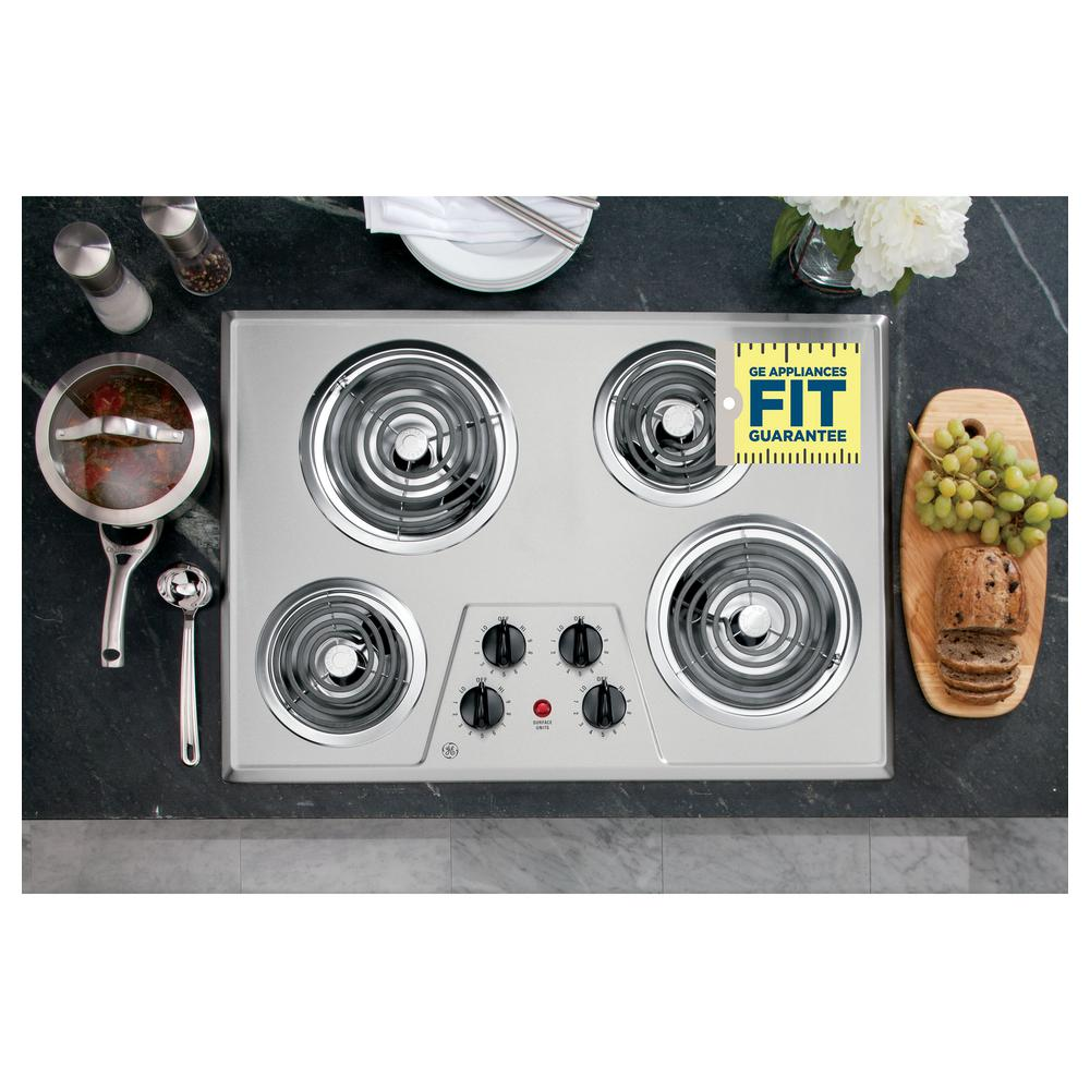 30 in. Coil Electric Cooktop in Stainless Steel with 4 Elements