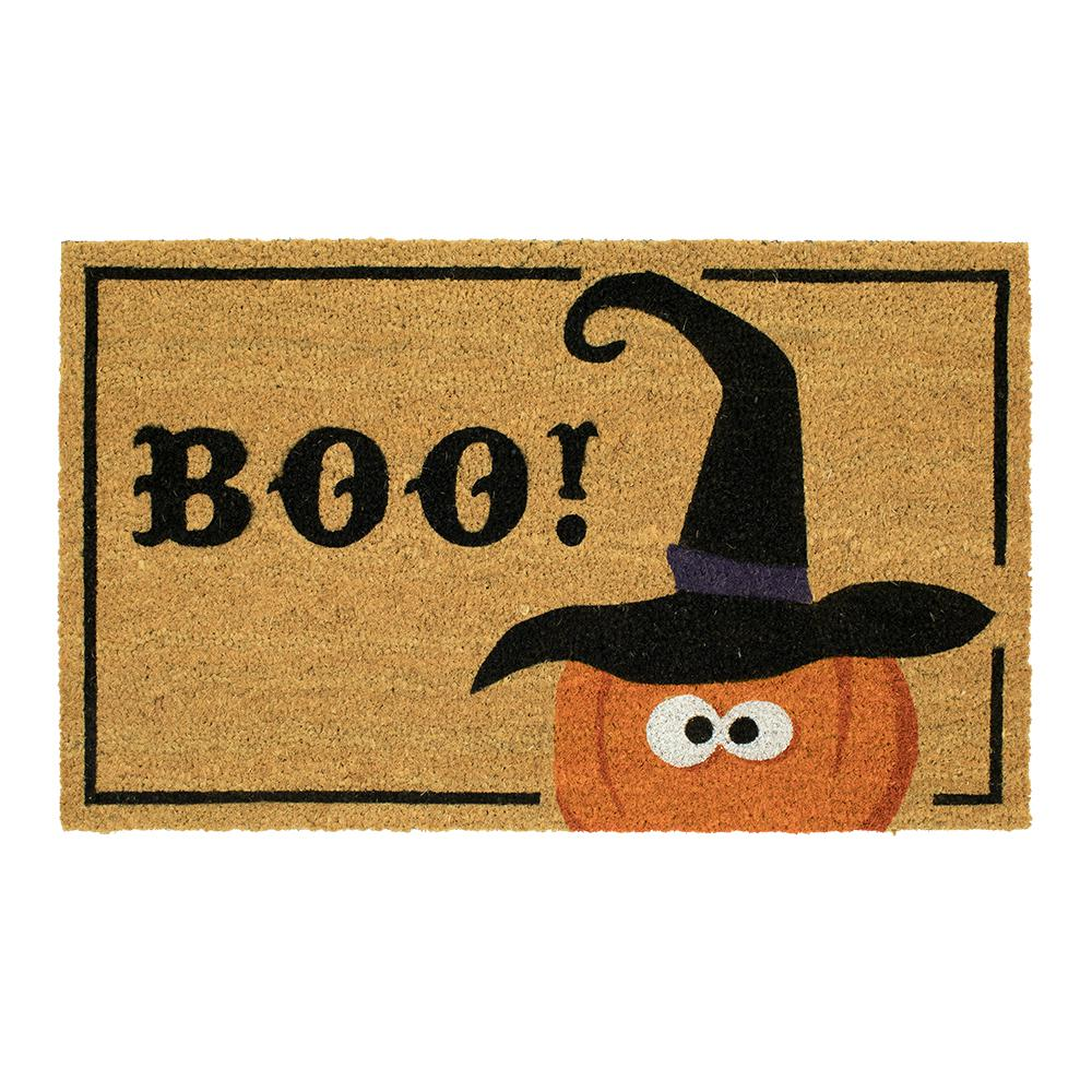 home accents witchy boo pumpkin 18 in. x 30 in. coir door mat-591816