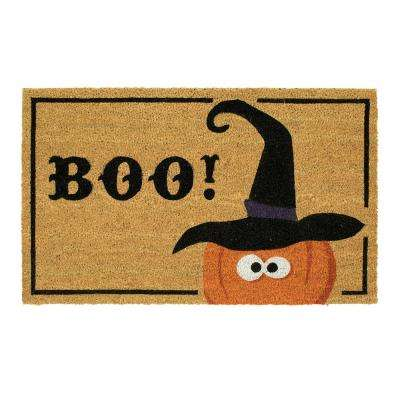 Witchy Boo Pumpkin 18 in. x 30 in. Coir Door Mat