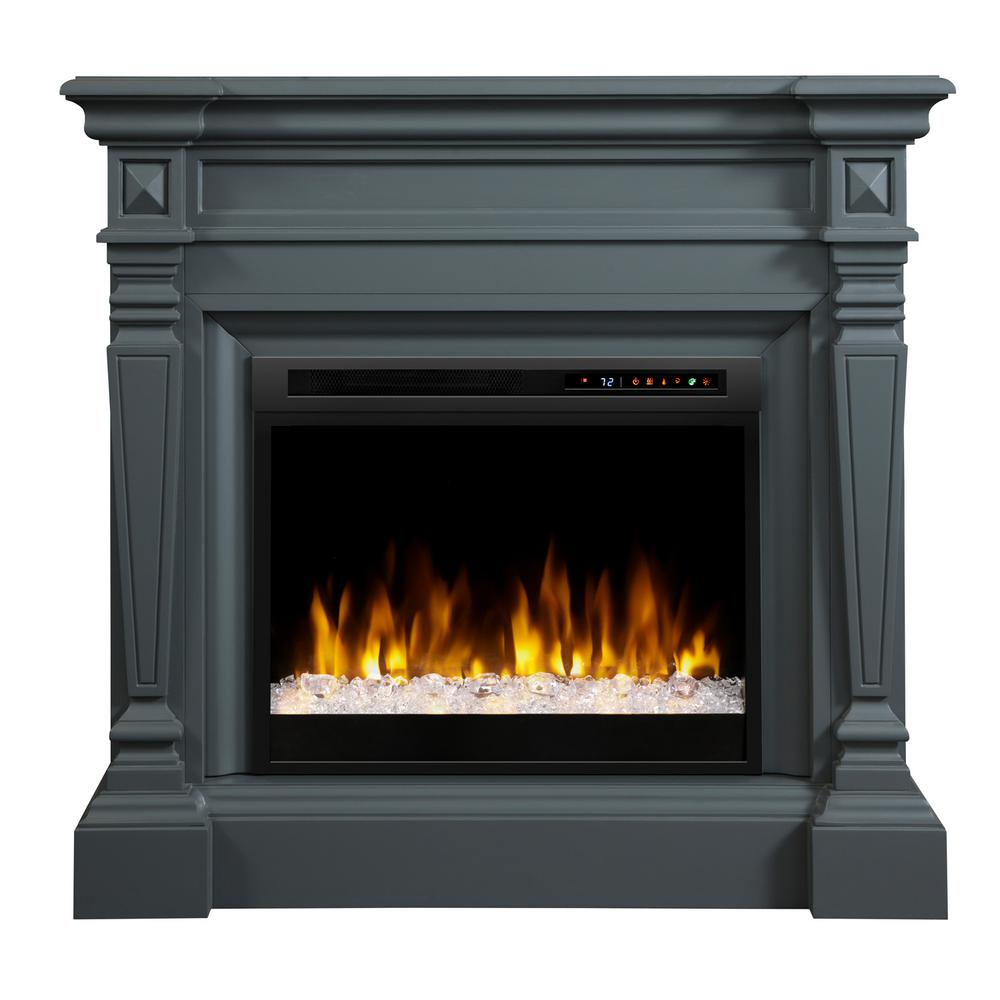 Dimplex Heather 50 in. Mantel in Wedgewood Grey with 28 in. Electric Fireplace with Glass Ember Bed