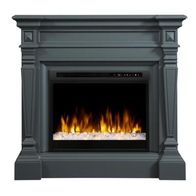 Heather 50 in. Mantel in Wedgewood Grey with 28 in. Electric Fireplace with Glass Ember Bed