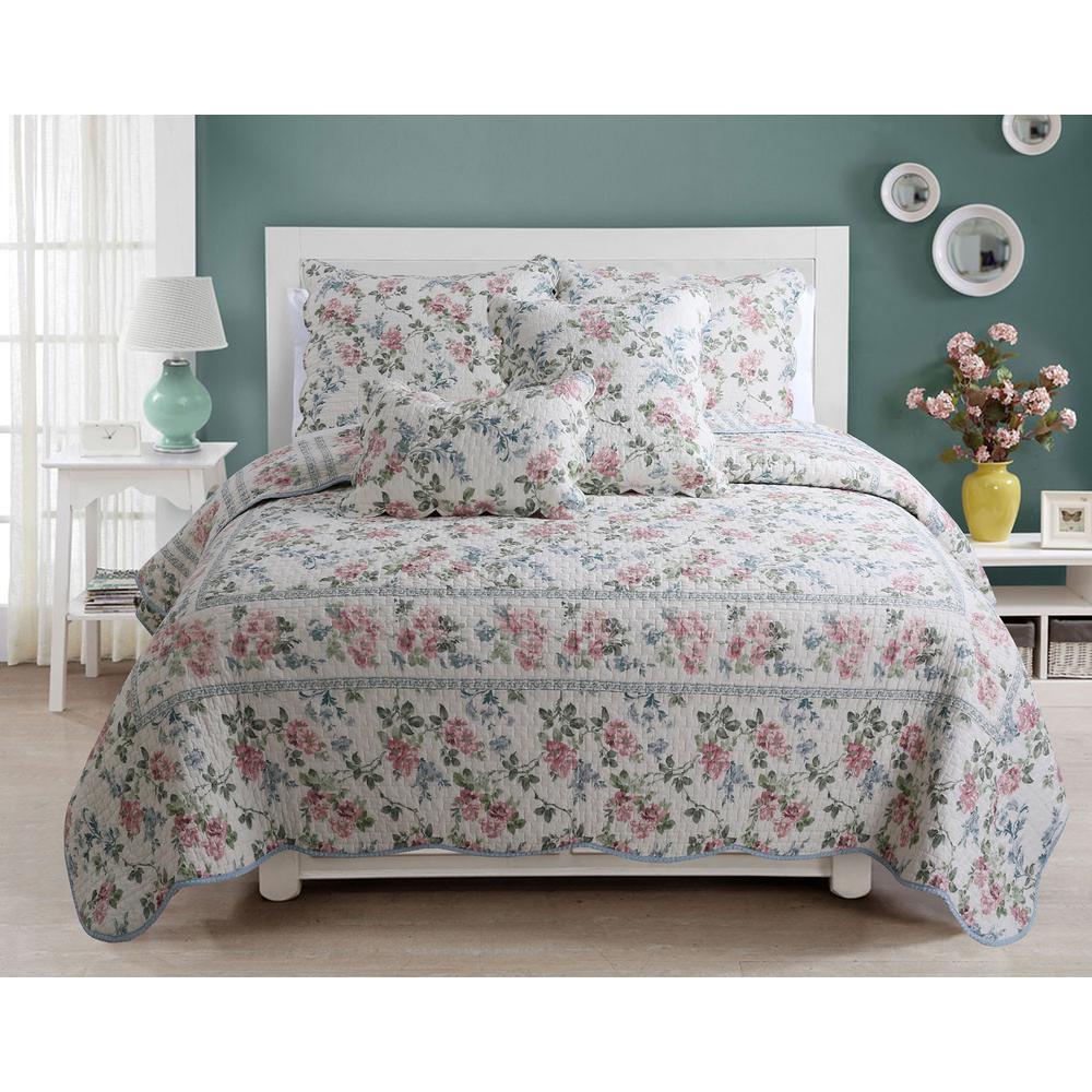 Romantic Floral Narcissus 3-Piece Soft Pink Blue Green Botanical Flower Garden Cotton King Quilt Bedding Set