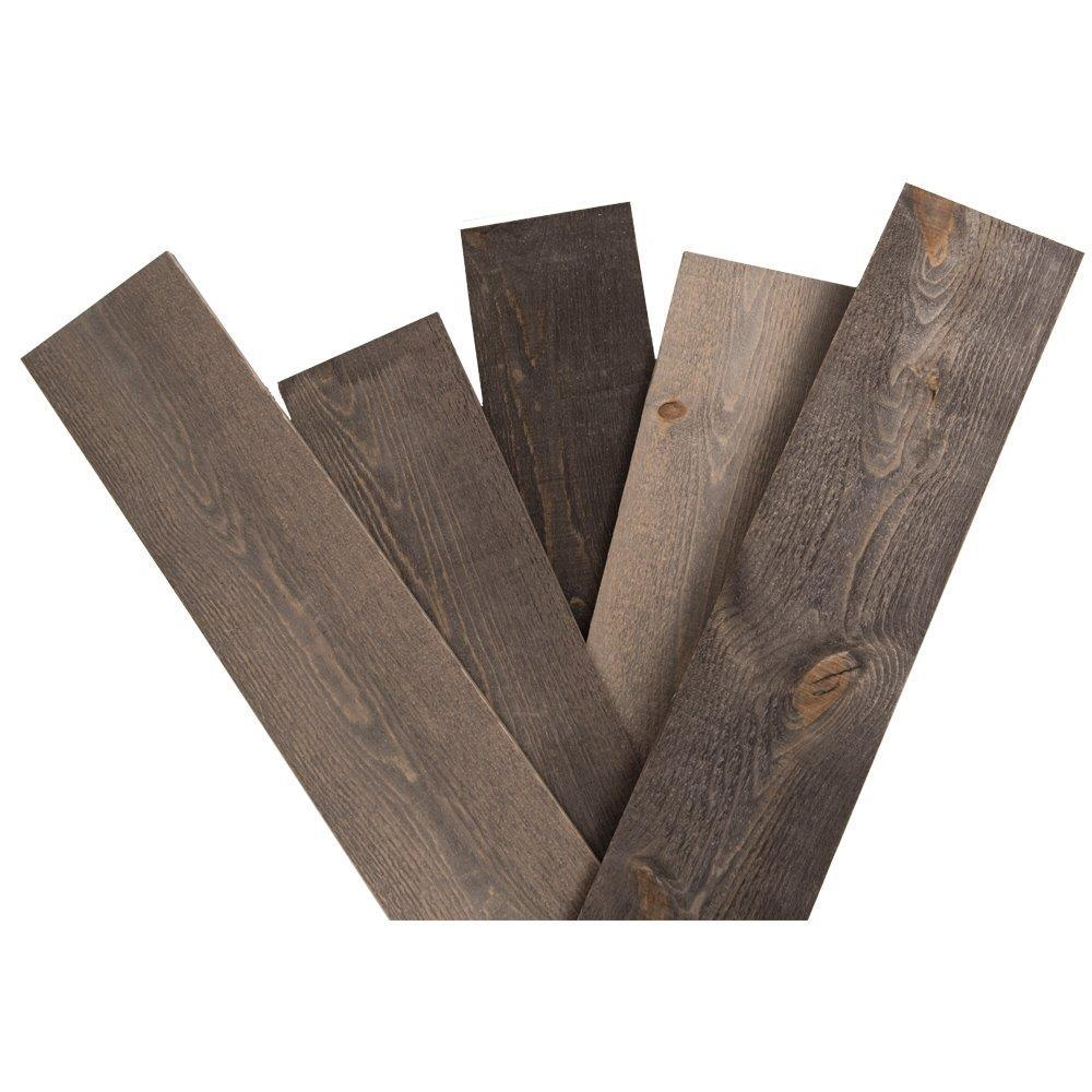 Hardwood Reflections 5/8 in. x 5-1/2 in. x 48 in. Rustic Weathered Grey Pine Solid Wood Wall Paneling