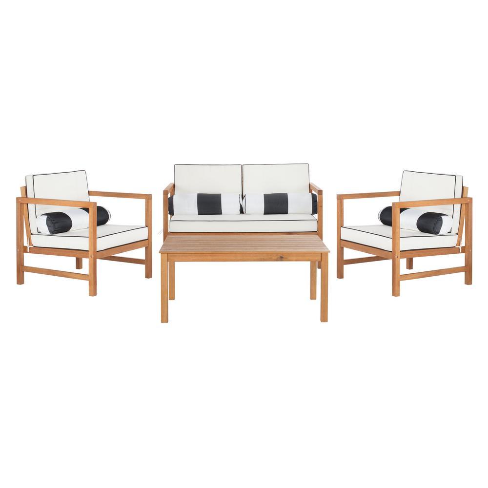 Safavieh Montez Natural 4-Piece Wood Patio Conversation Set with White/Black Cushions