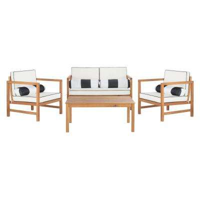 Montez Natural 4-Piece Wood Patio Conversation Set with White Cushions