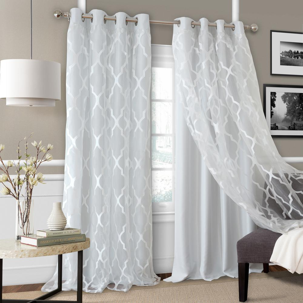 Elrene Bethany Sheer Overlay Blackout Window Curtain