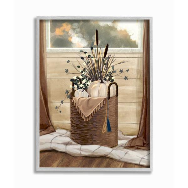 Stupell Industries Autumn Basket Seasonal Home Painting By Ziwei Li Framed Country Wall Art 14 In X 11 In Fda 155 Gff 11x14 The Home Depot