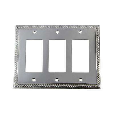 Rope Switch Plate with Triple Rocker in Bright Chrome