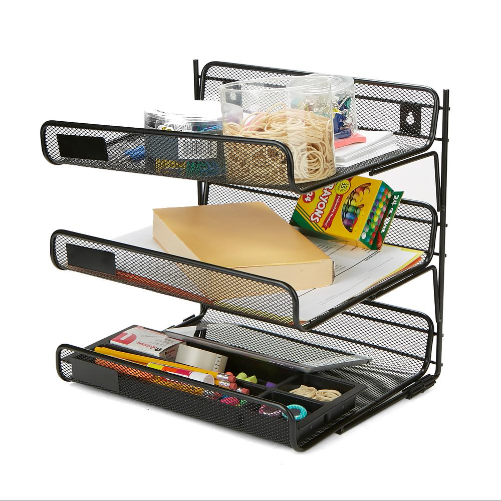 Metal Mesh 3-Tier Wall Mount Paper Tray, Document Paper File Organizer,