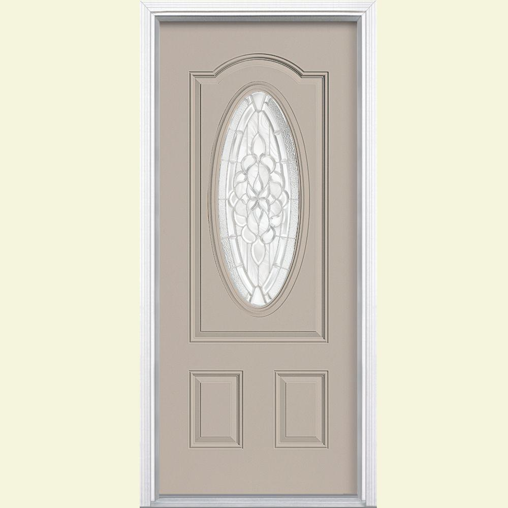 Masonite 36 in. x 80 in. Oakville 3/4 Oval Canyon View Right-Hand Painted Smooth Fiberglass Prehung Front Door w/ Brickmold