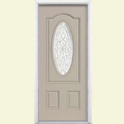 36 in. x 80 in. Oakville 3/4 Oval Canyon View Right-Hand Painted Smooth Fiberglass Prehung Front Door w/ Brickmold