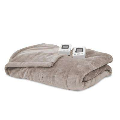 Cappuccino 100% Polyester Fleece King Warming Blanket