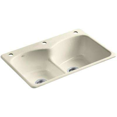 Langlade Smart Divide Drop-In Cast-Iron 33 in. 3-Hole Double Bowl Kitchen Sink in Cane Sugar
