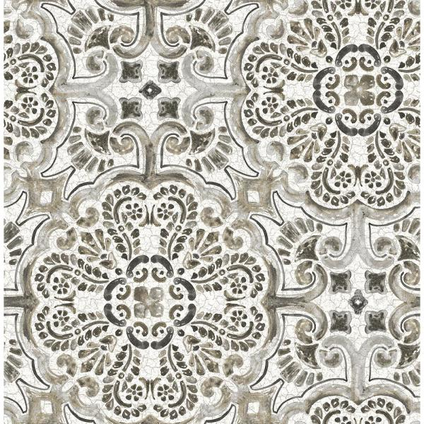 A-Street Florentine Grey Tile Wallpaper Sample 2540-24045SAM