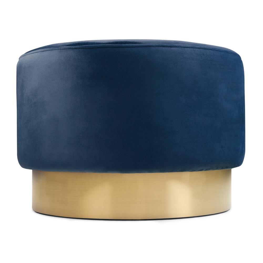 Simpli Home Bardoe Lapis Blue Velvet Large Round Ottoman Footstool