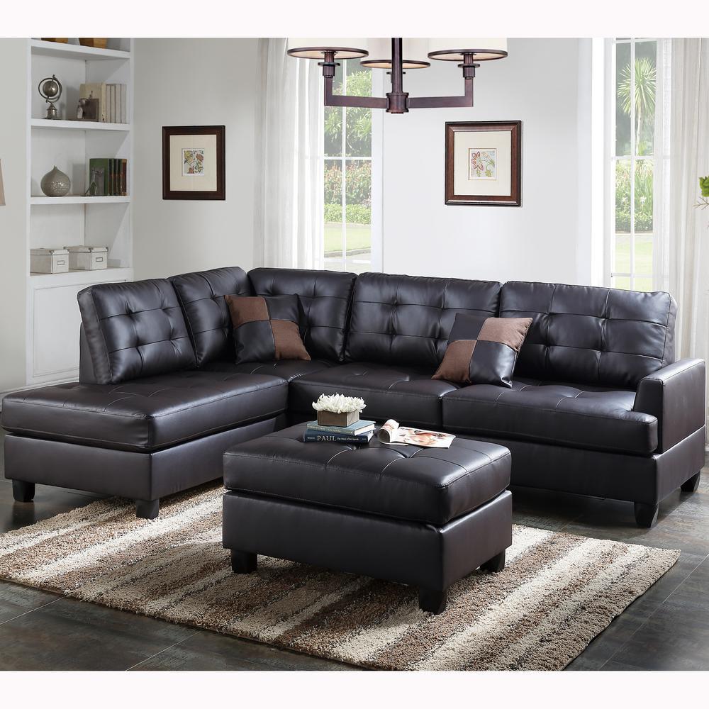 Venetian Worldwide Genoa 3 Piece Sectional Sofa In Espresso Leatherette  With Ottoman