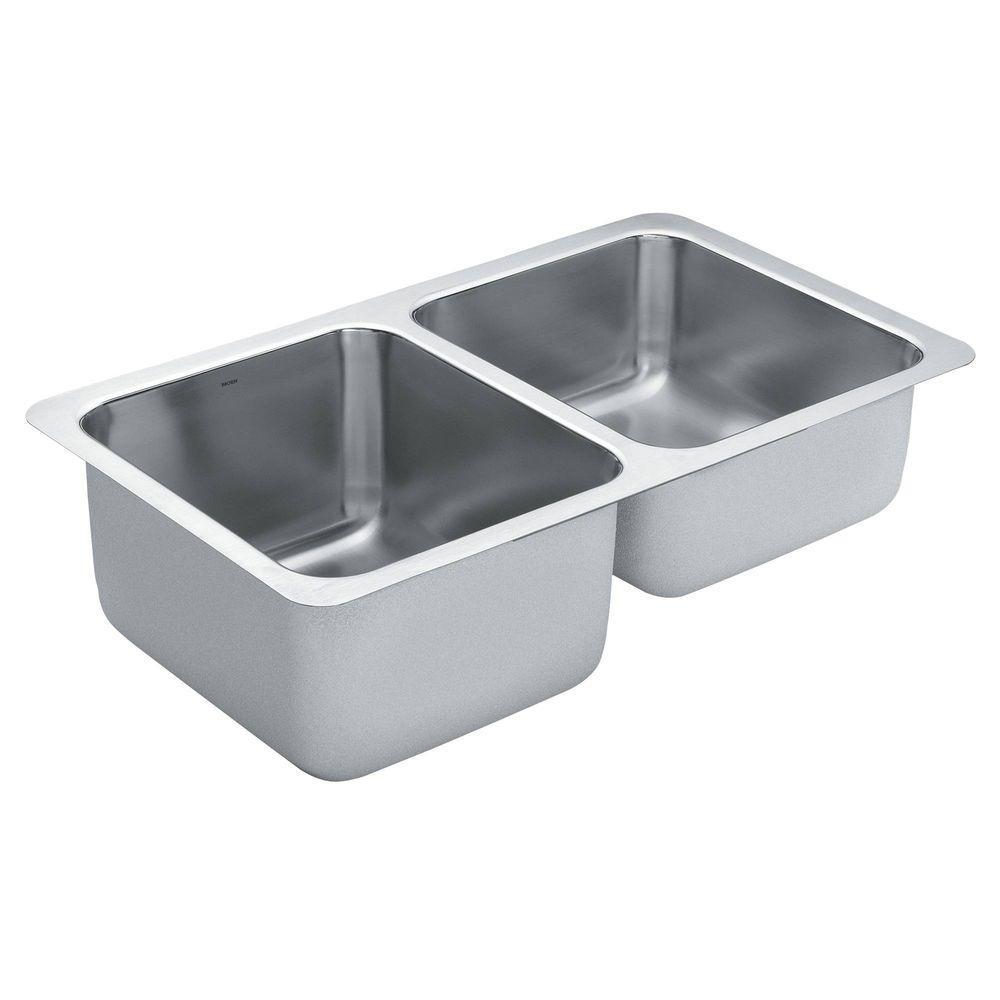 MOEN 1800 Series Undermount Stainless Steel 32 in. Double Basin Kitchen Sink