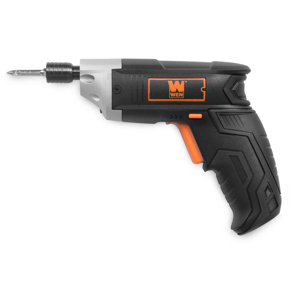 WEN 3.6-Volt Lithium-Ion Cordless Electric Screwdriver with Bits and Belt Holster