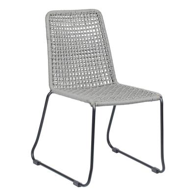 ZUO Carlo Black and Dark Gray Metal Outdoor Dining Chair (2-Pack)