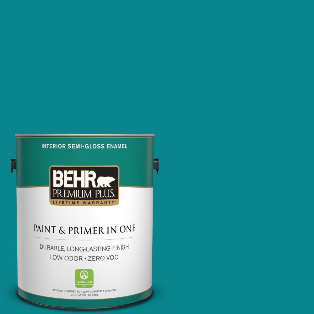1-gal. #500B-7 Tucson Teal Zero VOC Semi-Gloss Enamel Interior Paint