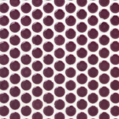 Bliss Edged Penny Round Plum 12 in. x 12 in. x 10 mm Polished Ceramic Mosaic Tile