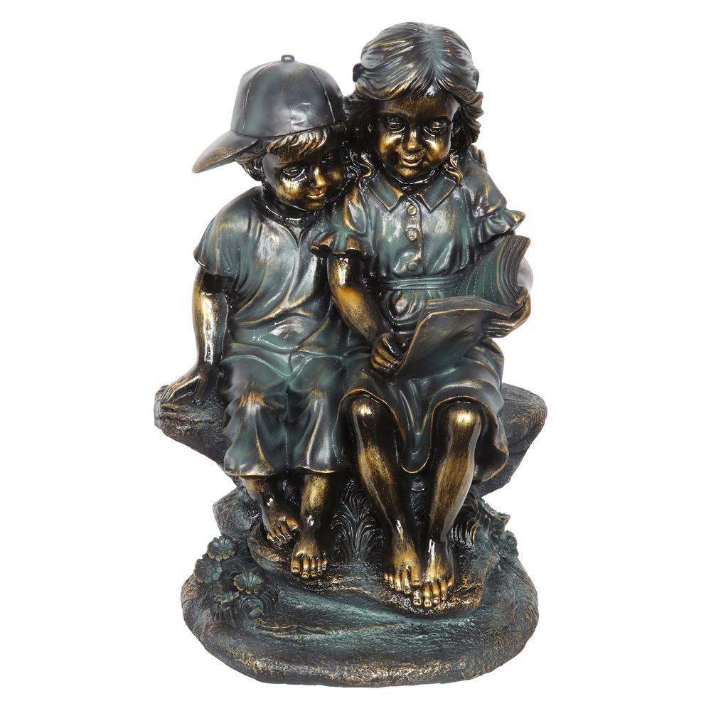 Bronze Look Children Statue