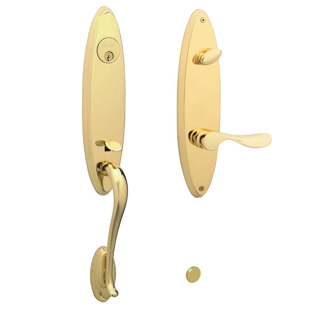 Schlage Venice Bright Brass Left-Hand Handleset with Champagne Interior Lever-DISCONTINUED