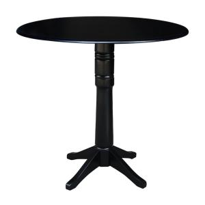 Olivia Black Solid Wood 42 in. Drop-leaf Bar Table