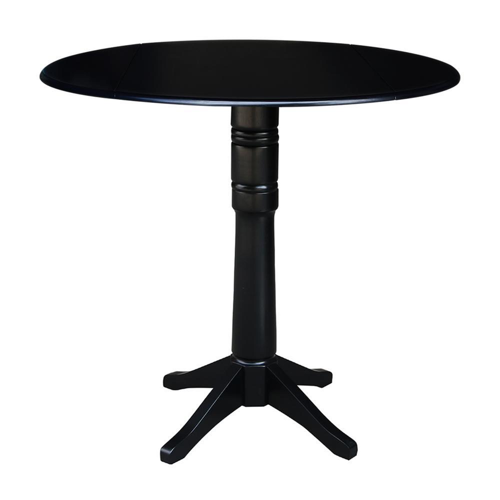 International Concepts Olivia Black Solid Wood 42 in. Drop-leaf Bar Table