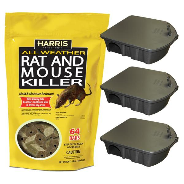4 lbs./64 Bars All Weather Rat and Mouse Killer and 3 Locking Rat and Mouse Refillable Bait Stations