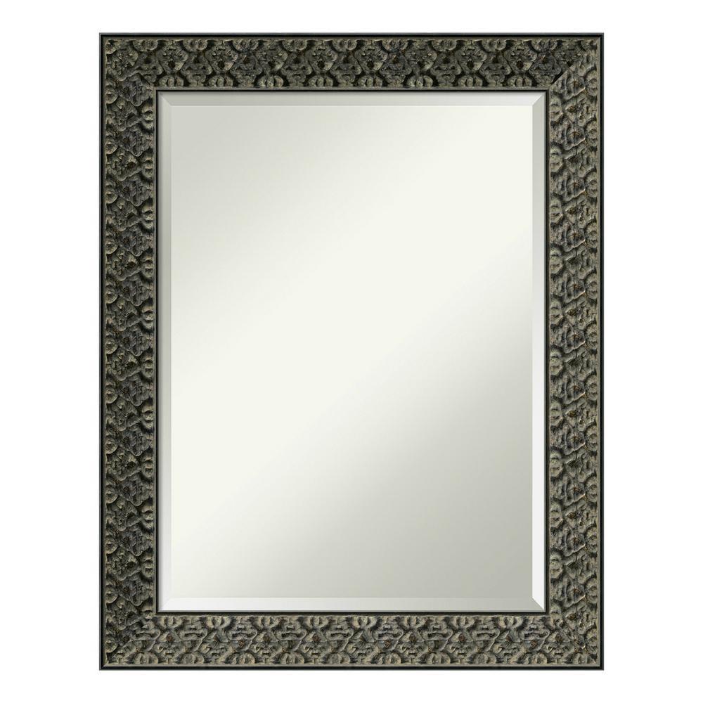 Intaglio Embossed Black Wood 23 in. x 29 in. Traditional Bathroom Vanity Mirror