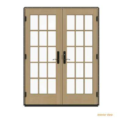 60 in. x 80 in. W-4500 Contemporary Bronze Clad Wood Left-Hand 15 Lite French Patio Door w/Unfinished Interior