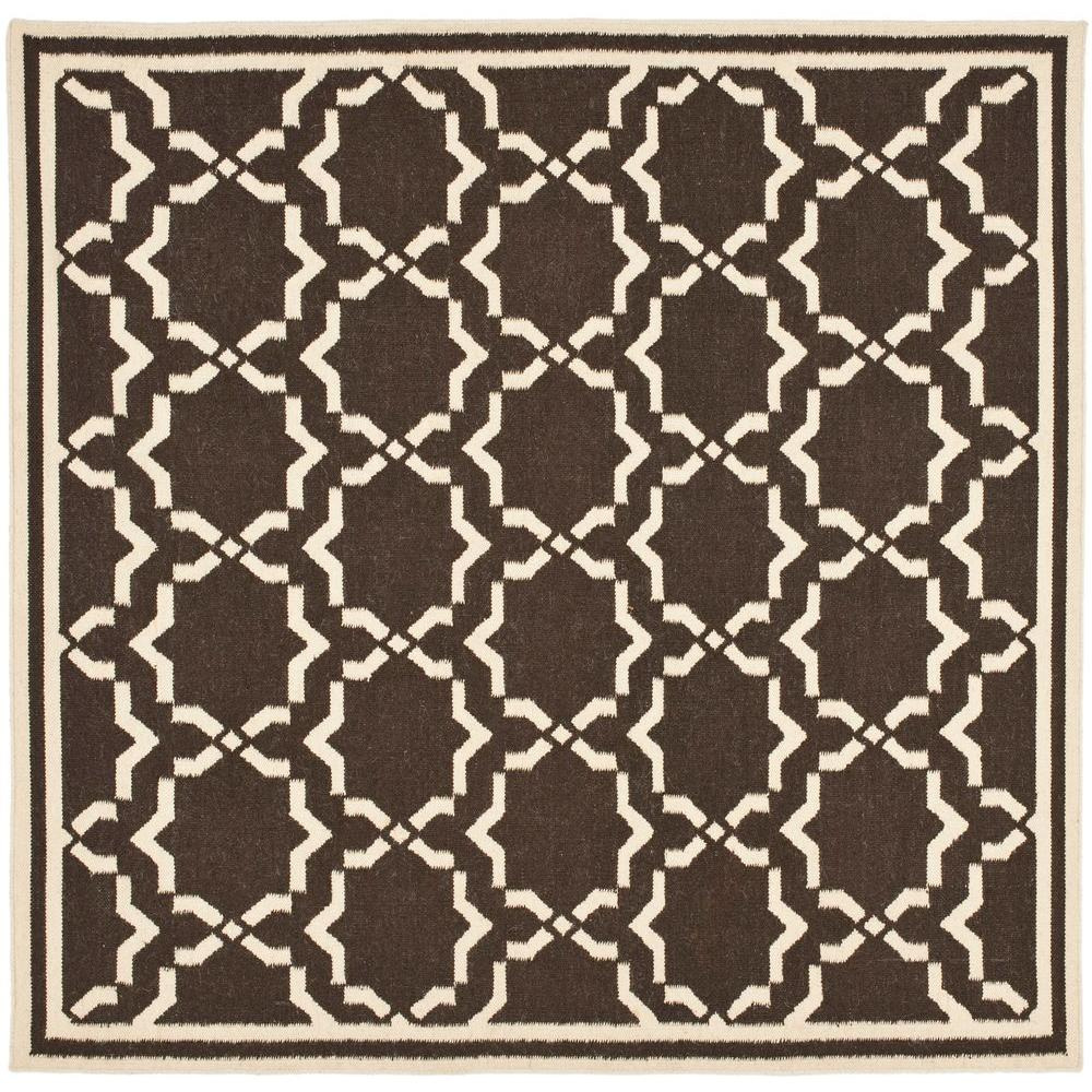 Dhurries Chocolate/Ivory 6 ft. x 6 ft. Square Area Rug