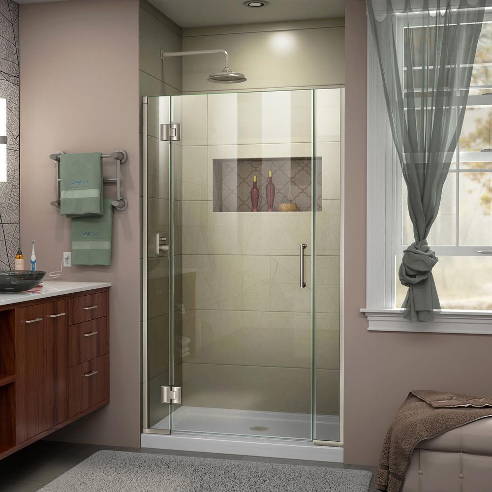 Unidoor-X 39 in. to 39-1/2 in. x 72 in. Frameless Pivot Shower Door in Brushed Nickel