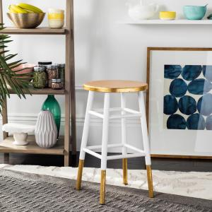 Emery 24 in. Dipped Gold Leaf Counter Stool in White