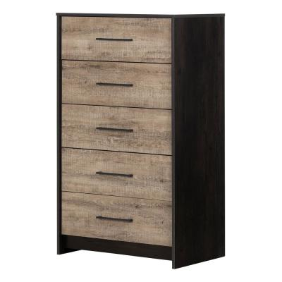 Londen 5-Drawer Weathered Oak and Ebony Chest