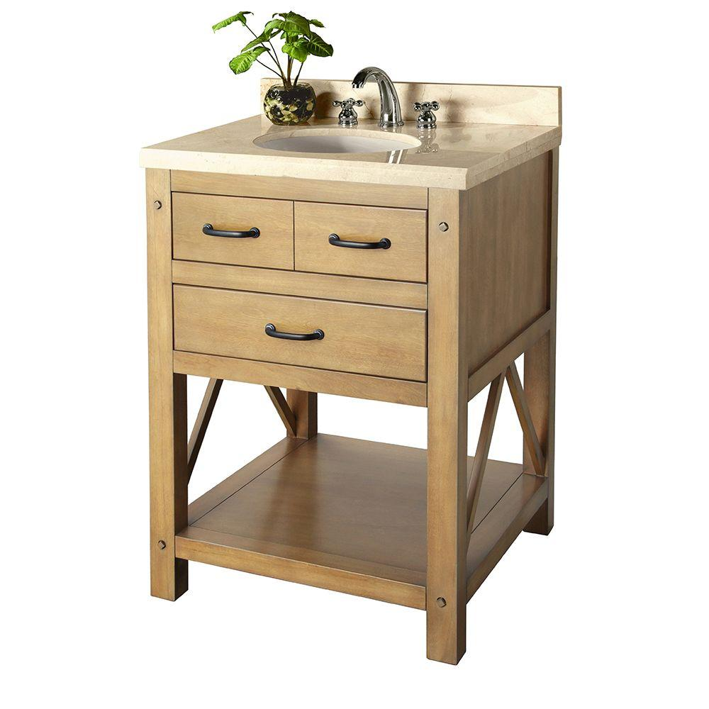 Home Decorators Collection Avondale 25 in. Vanity in Weathered Pine with Marble Vanity Top in Crema Marfil