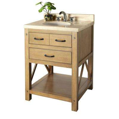 Avondale 25 in. Vanity in Weathered Pine with Marble Vanity Top in Crema Marfil