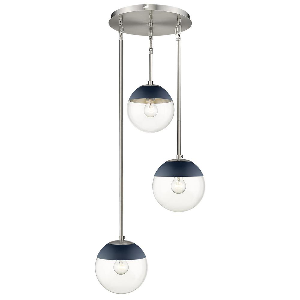 Golden Lighting Dixon 3-Light Pendant in Pewter with Clear Glass and Navy Cap