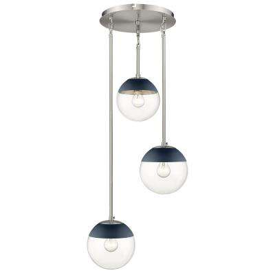 Dixon 3-Light Pendant in Pewter with Clear Glass and Navy Cap