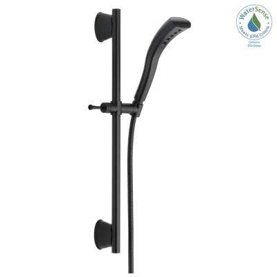 Stryke 1-Spray Handheld Showerhead with Slide Bar and H2Okinetic Technology in Matte Black