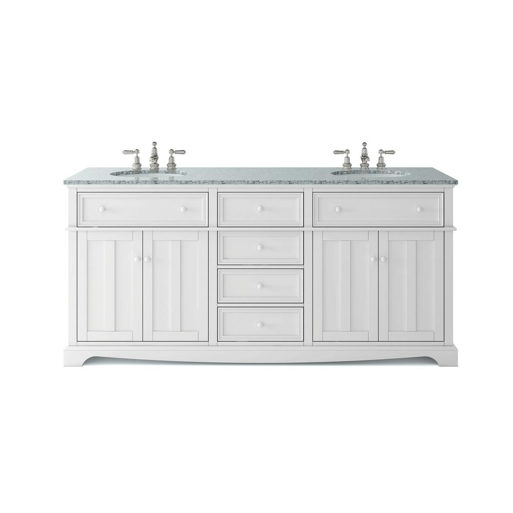 Home Decorators Collection Fremont 72 in. W x 22 in. D Double Vanity in White with Granite Vanity Top in Grey with White Sink