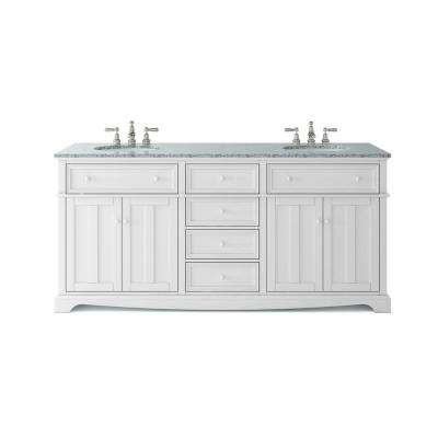 Fremont 72 In W X 22 In D Double Vanity In White With Granite Vanity Top In Grey With White Sink