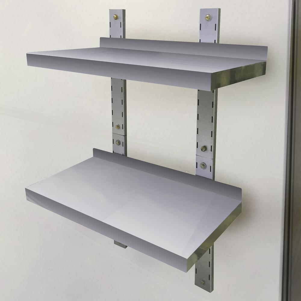 sportsman 2 shelf 24 in stainless steel wall mounted shelf 802719 the home depot - Bookshelves Wall Mounted