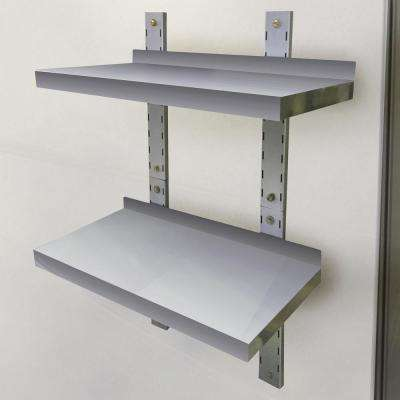 2-Shelf 24 in. Stainless Steel Wall Mounted Shelf