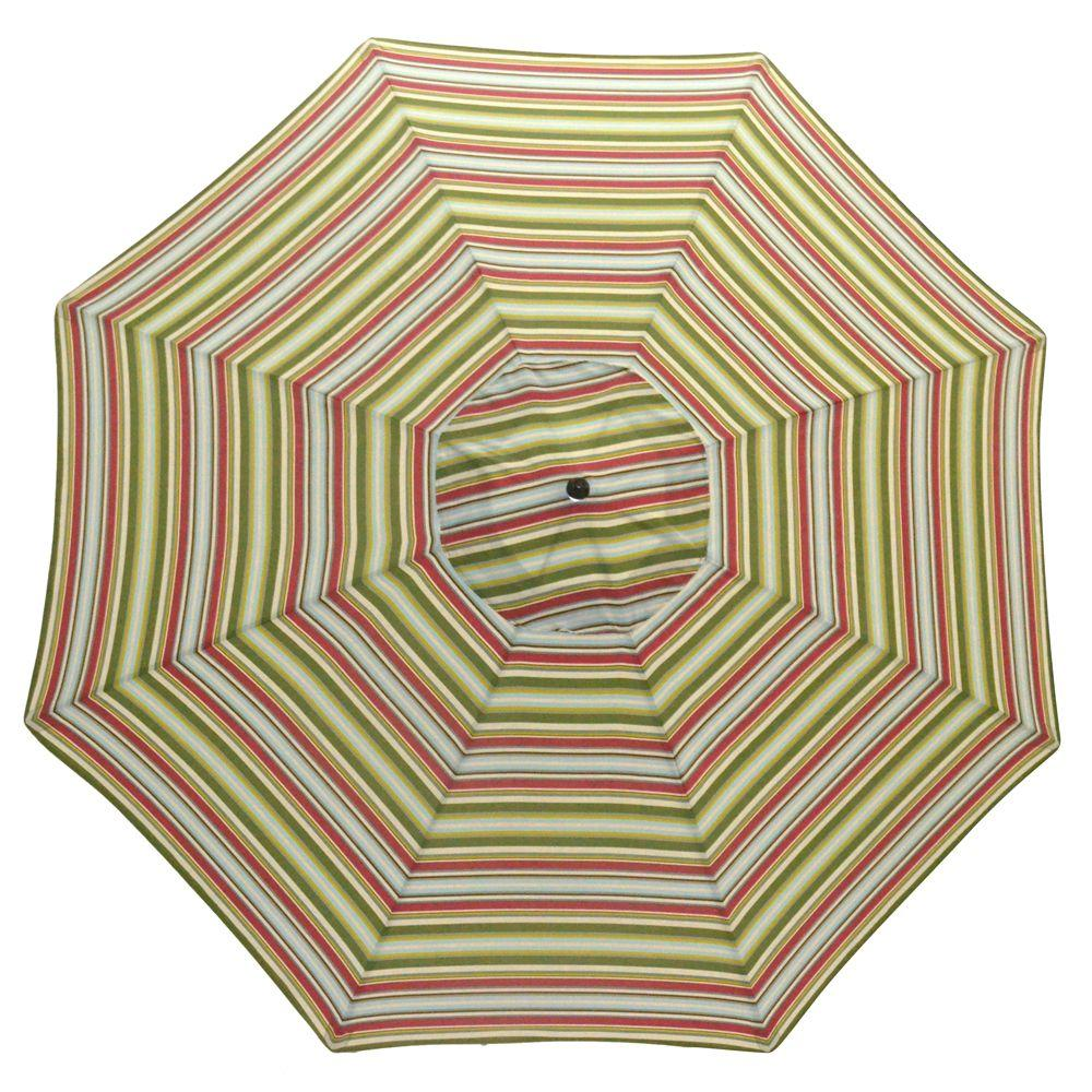 Plantation Patterns 11 ft. Patio Umbrella in Grove Stripe-DISCONTINUED